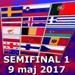 Poäng och placeringar: Semifinal 1 (ESC 2017)
