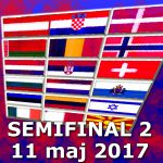 Poäng och placeringar: Semifinal 2 (ESC 2017)